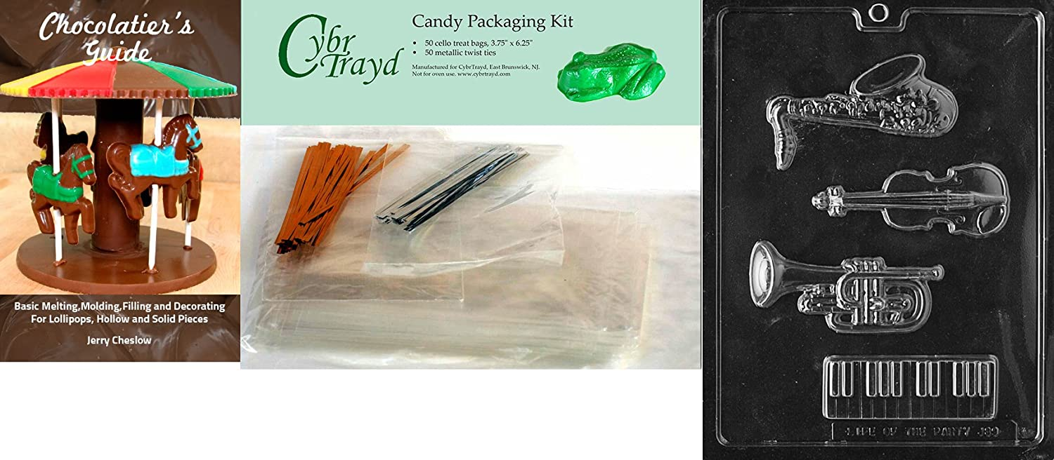 Trumpet Saxophone Cello Base Chocolate Candy Mold in Sealed Protective Poly Bag Imprinted with Copyrighted Cybrtrayd Molding Instructions Cybrtrayd Life of the Party J089 Music Kit Keyboard