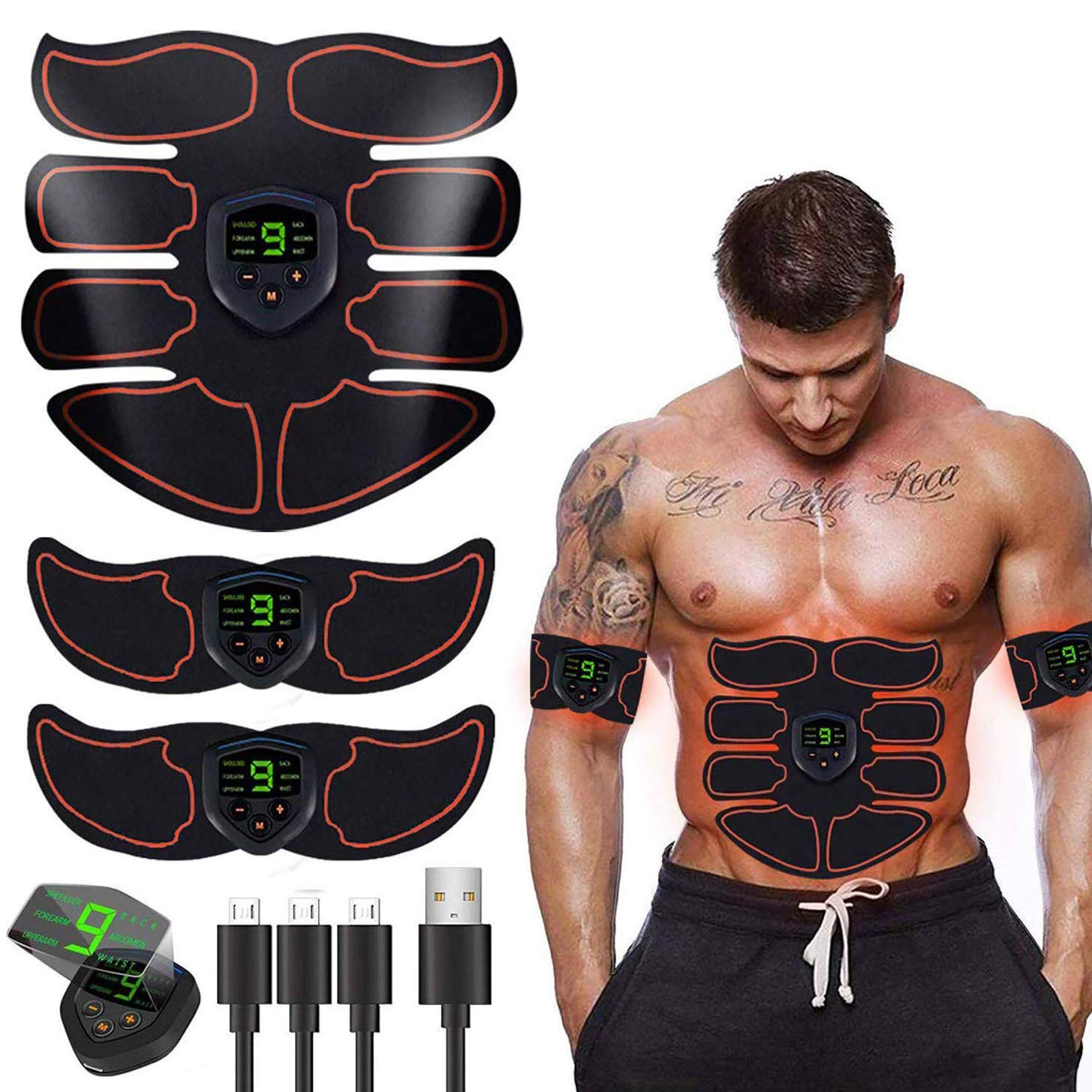 HAIJIXING ABS Stimulator Abs Muscle Toner EMS Portable Rechargeable Gym Workout Training and Home Office Fitness Toning Belt Equipment for Abdomen by SHENGMI (Image #1)