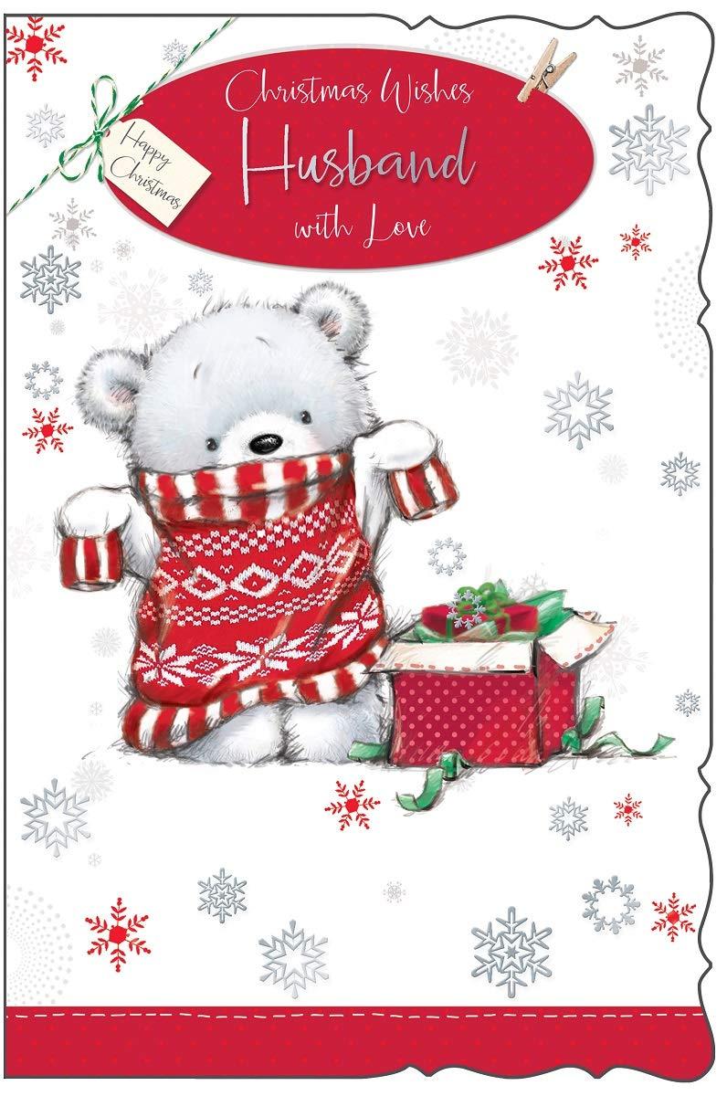 Husband Christmas Card Cute Grey Bear Jumper Gift Box