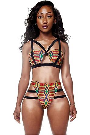 Mujer Imprimir Inspiración Africana de Dos Piezas Traje de ...