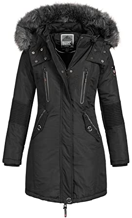 997a38d275 Geographical Norway Damen Jacke Winterparka Coracle/Coraly XL-Fellkapuze  Black S