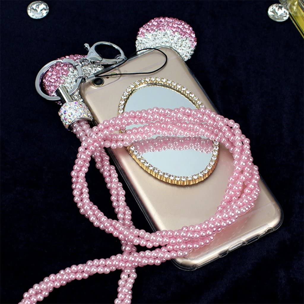 YiFeiCT Key Ring Lanyard Phone Holder Crystal Pearl Neck Strap Massager Bling Portable