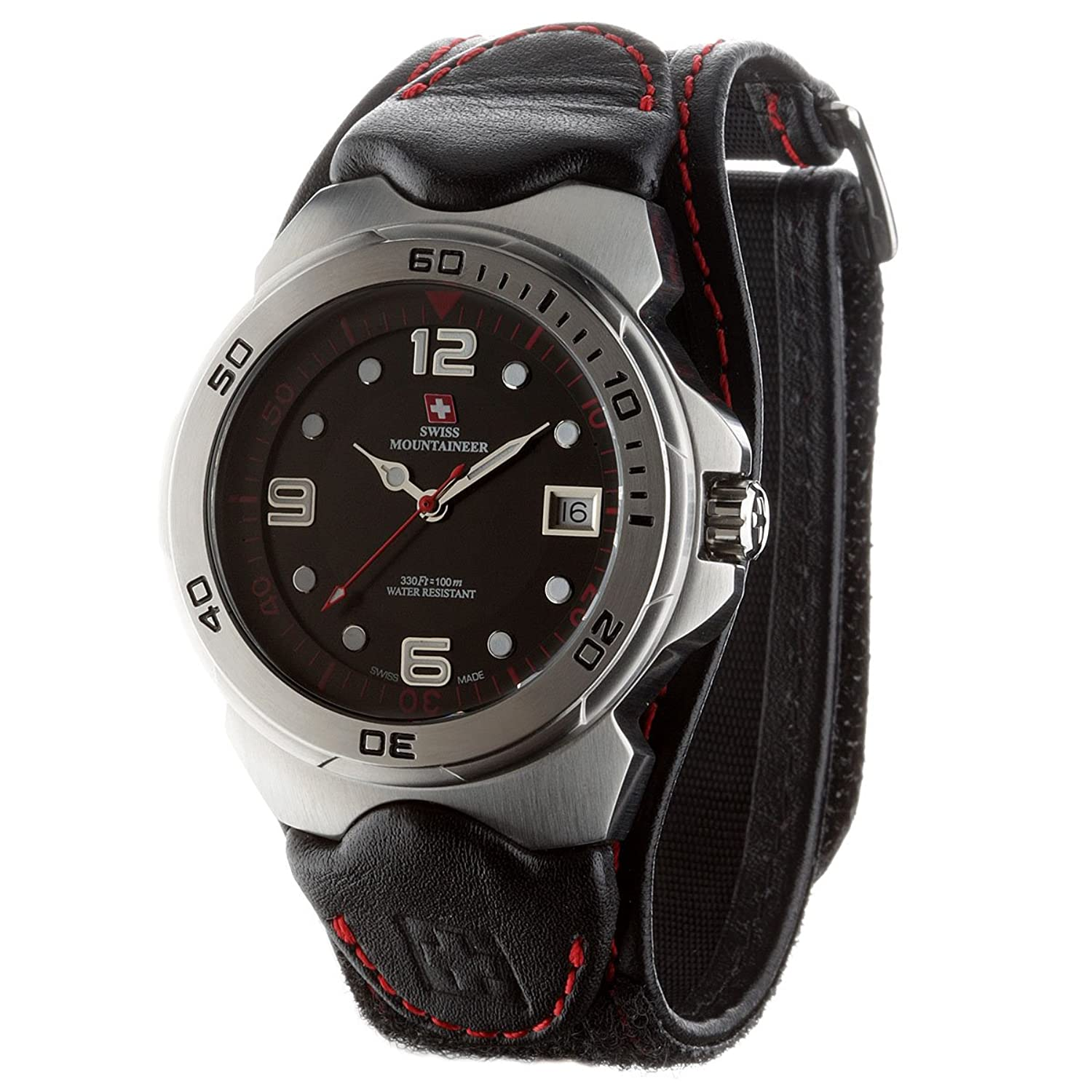Swiss Mountaineer Herren-Armbanduhr Mont Vully Red Analog Quarz SM1451