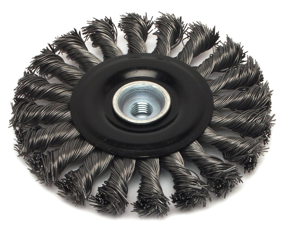 Industrial Pro Twist Knot with M10-by-1.50//1.25 Multi Arbor Forney 72834 Wire Wheel Brush 4-1//2-Inch-by-.020-Inch