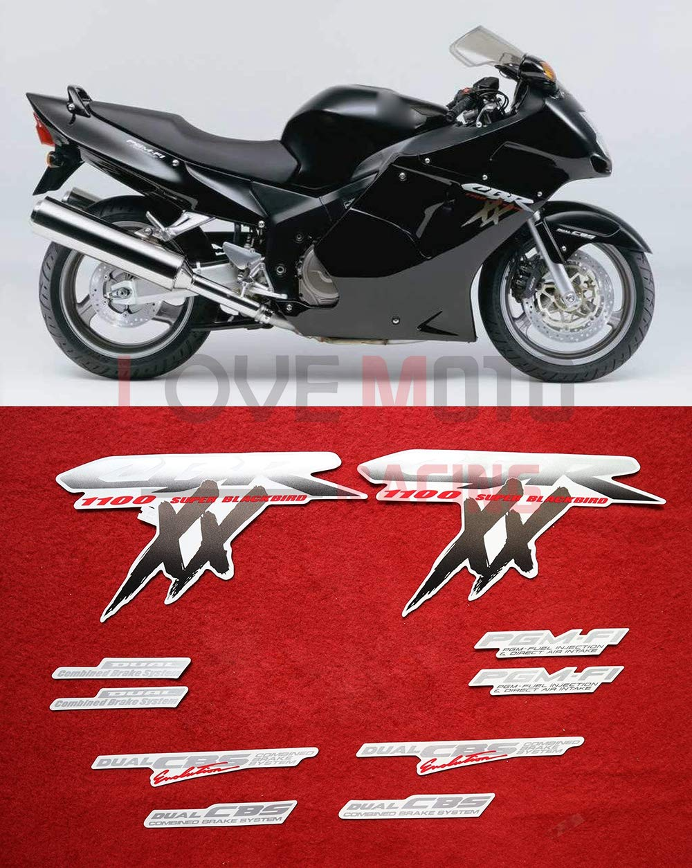 Black LoveMoto Whole Vehicle Decals Stickers for 1996-2007 CBR1100XX F5 honda 96-07 Motorcycle Full kit Decals