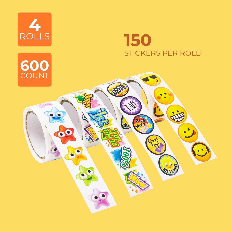 Assorted Motivation Sticker Rolls School Student Encouragement School Bus Sticker Juvale 1080 Count Childrens Stickers 5.75 x 2.75 x 2.5 inches