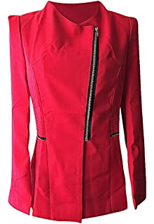Red XXXL,Manufacturer US/&R Women Double Breasted Turndown Collar Solid Color Medium Leather Coat XXXXXL