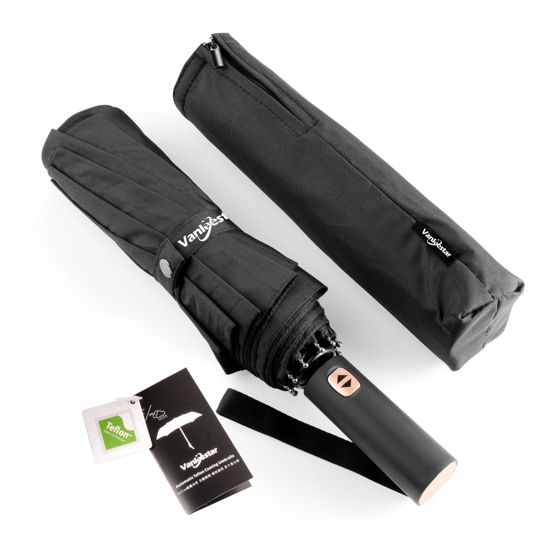 10Rib Travel Umbrella Windproof,Auto open close,Teflon Coating,Lengthened Handle