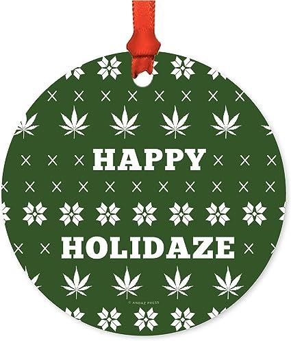 amazon com andaz press marijuana pot cannabis weed round metal christmas ornaments happy holidaze pot leaf graphic includes ribbon and gift bag health personal care amazon com