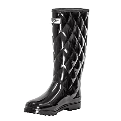 c1cc63543 Image Unavailable. Image not available for. Color: Forever Young Women's  Black Rubber Mid-Calf Quilted Rain Boots 10