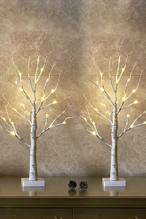 LED Birch Tree Warm White Artificial Tree Twig Lights Home Holiday Branch Decor