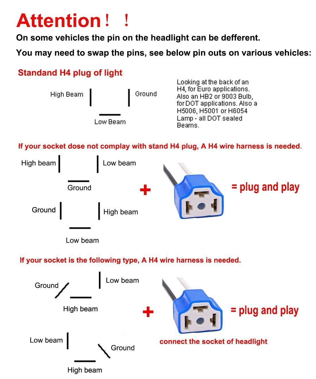 H4 Headlight Connector Wiring - Wiring Diagram Online