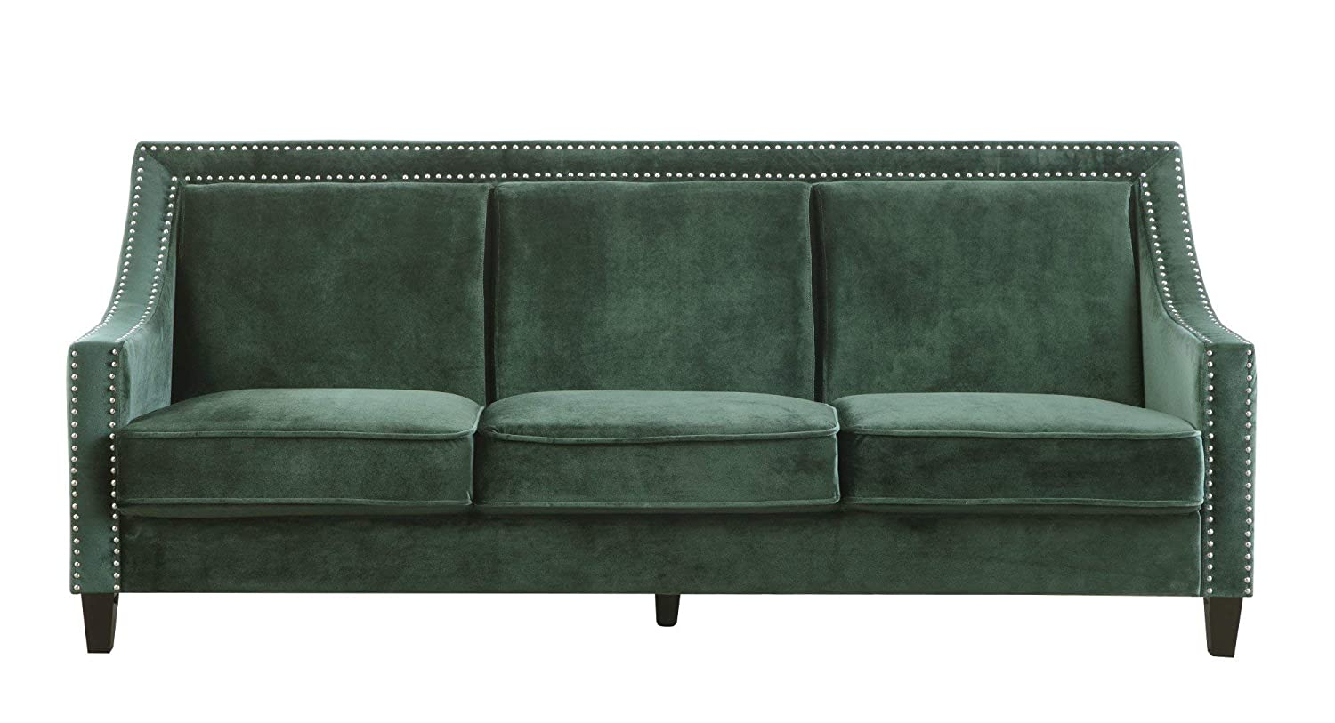 Iconic Home Camren Sofa Velvet Upholstered Swoop Arm Silver Nailhead Trim Espresso Finished Wood Legs Couch Modern Contemporary, Green
