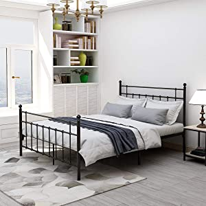 Elegant Home Products Queen Size Metal Bed Frame Platform with Steel Headboard and Footboard Mattress Foundation Bedroom Furniture No Box Spring (Black, Queen)