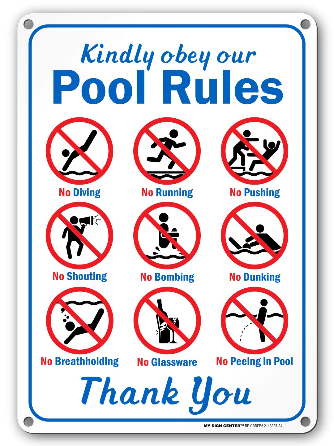 Kindly Obey Our Pool Rules - Swimming Pool Sign - 10