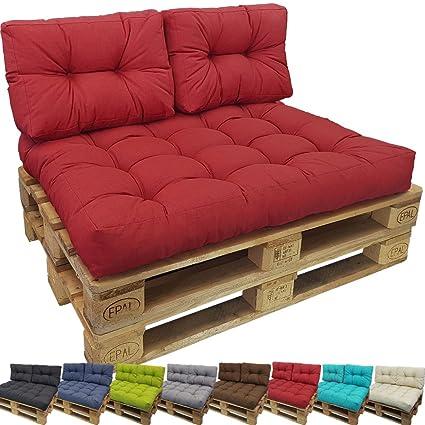 PROHEIM Cojines Palés Tino Lounge, Cojines De Asiento O Respaldo para Sofás Palets - Repelentes A Las Manchas (No Es Un Set), Color:Rojo, Variante:1 ...