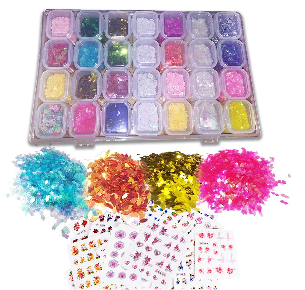 28 Boxes Colorful Nail Glitter Nail Sequins Iridescent Flakes Ultra-thin Tips Various Shapes by SirenPink