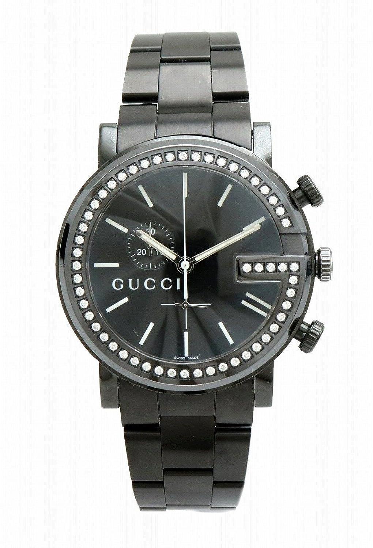 [グッチ] GUCCI G クロノ コレクション エクストララージ クロノグラフ ブラック文字盤 ダイヤベゼル メンズ QZ クォーツ 腕時計 101M YA101340 B07CZWBFW2