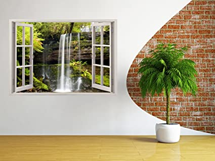 3D Depth Illusion Vinyl Wall Decal Sticker, Window Frame Style Home Decor
