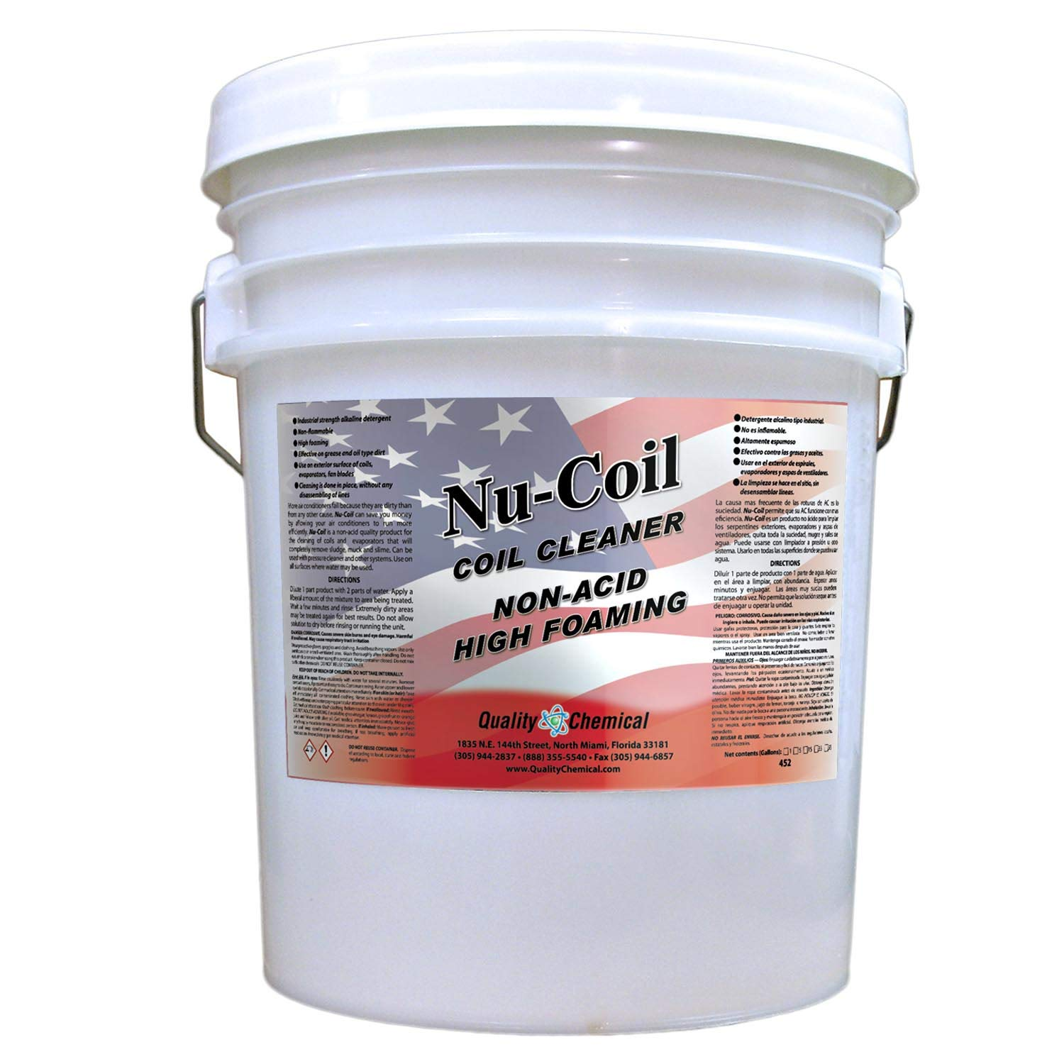 Nu-Coil Professional Grade Concentrated Air Conditioner Alkaline Condenser Coil Cleaner-5 gallon pail by Quality Chemical