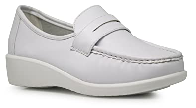 6267e9e15996e Harmony Women White Slip On Loafers Wide Width Nurse Work Medical Waitress Shoes  Clogs Mules (
