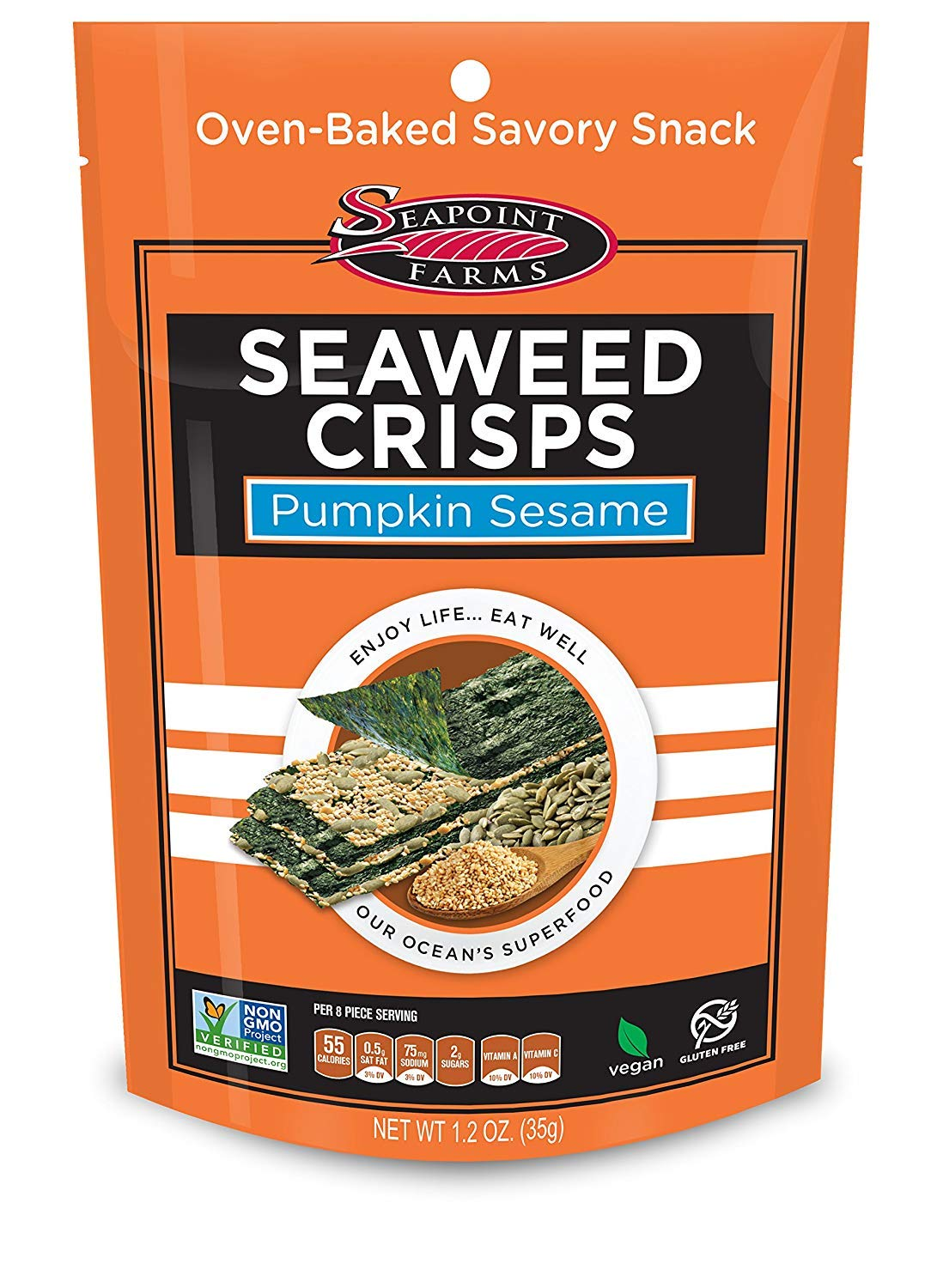 Pumpkin Sesame Sea Salt Seaweed Crisps - Seapoint Farms (1.2 oz Packs of 12) (2) by Seapoint Farms