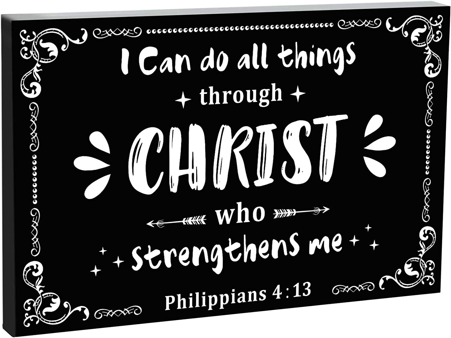 7.87 Inch Wooden Motivational Sign Large Inspirational Box Sign God Sign Wall Decoration, I Can Do All Things Through Christ Who Strengthens Me Positive Thought Home Room Wall Decor He is Risen Easter