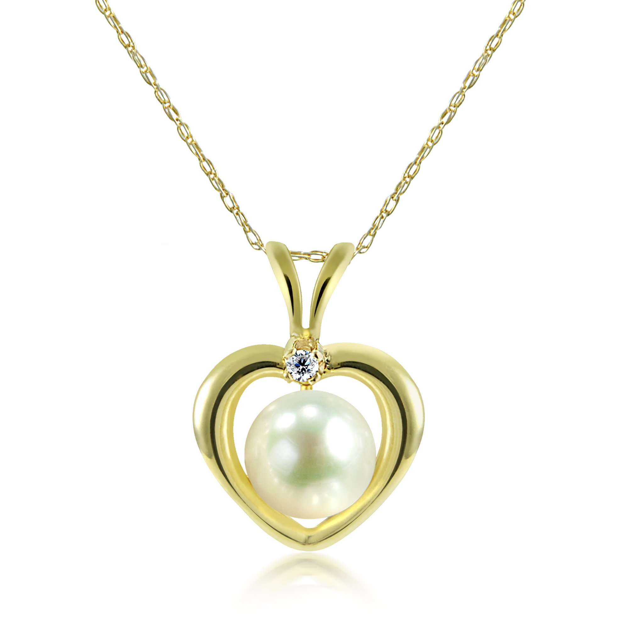 La Regis Jewelry 14k Yellow Gold 5-5.5mm White Freshwater Cultured Pearl and 1/100cttw Diamond Pendant Necklace, 13''