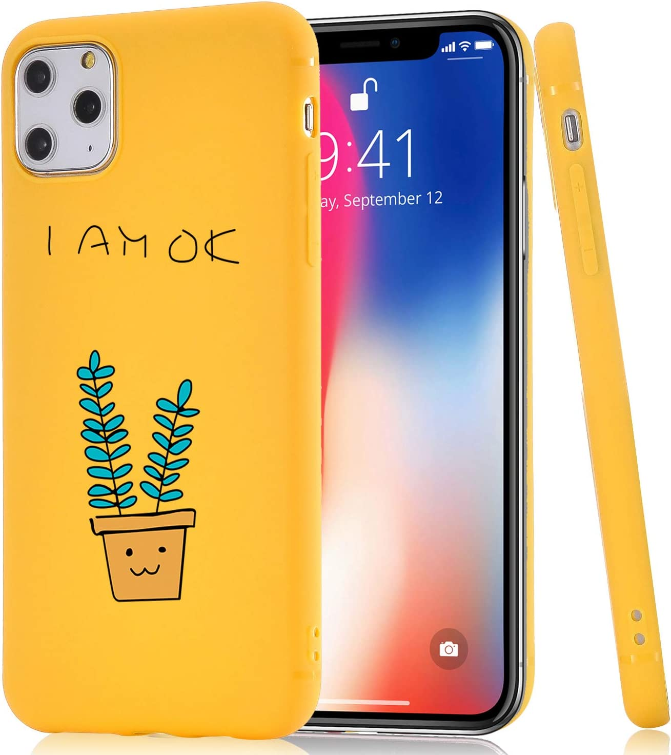 JOYLAND Yellow Case for iPhone 6/6S Case Cute Cactus Cacti Pattern Yellow Phone Cover Flexible Soft TPU Bumper Candy Color Case for iPhone 6/6S