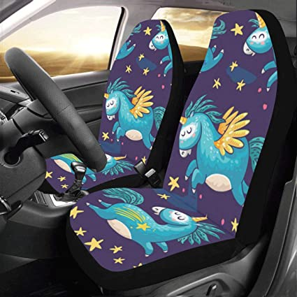 Artsadd Cute Unicorns Fabric Car Seat Covers Set Of 2 Best Automobile Seats Protector