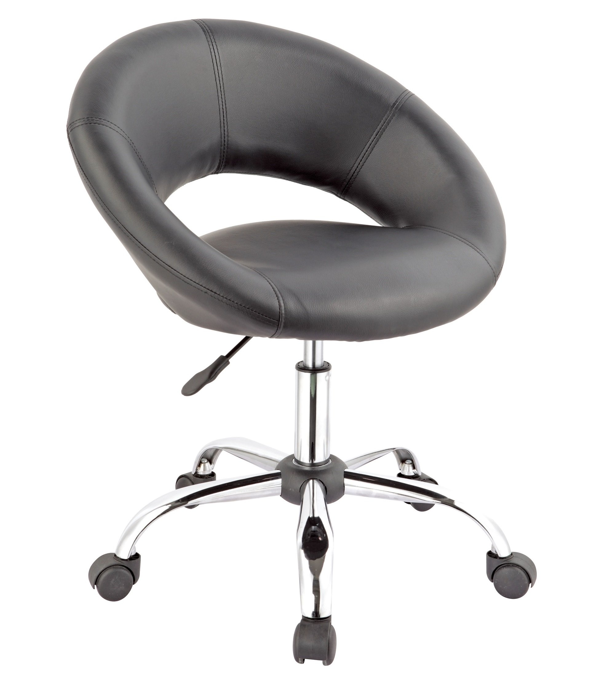 Duhome Working Stool Home Office Chair Task Computer Chair with Wheels Swivel Height Adjustable (Black)