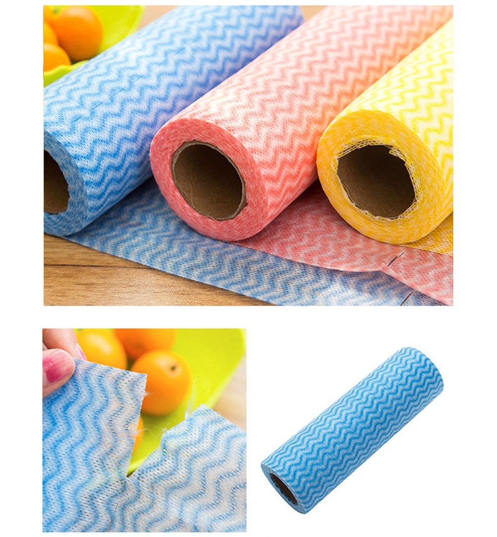 pa/ños de limpieza de tejido no tejido Kuke Trapos de cocina antiadherentes de fibra de bamb/ú 25 unidades por rollo Multicolor