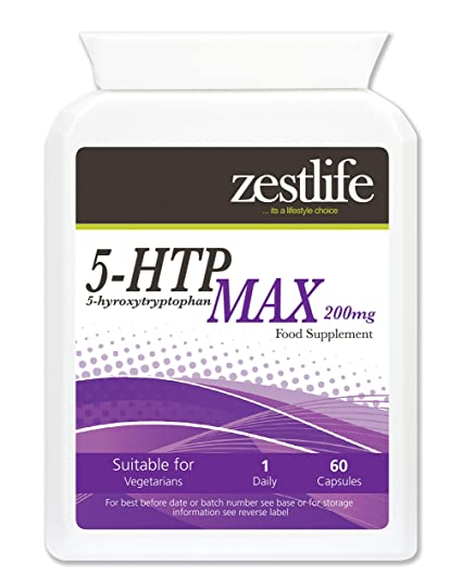 Zestlife 5HTP + (Happy Days) Apoyo 60 cápsulas Mayor fuerza 5 -HTP de