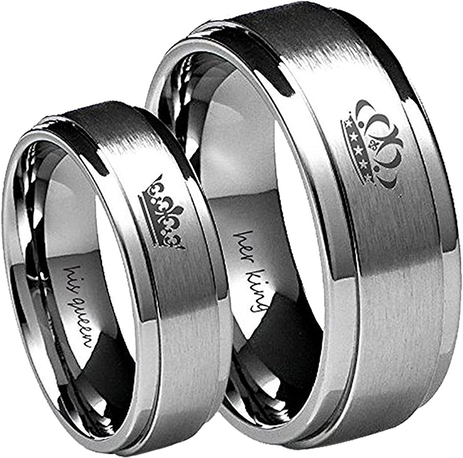 It is a photo of Amazon.com: Blowin Tungsten Carbide Ring His Queen Her King Crown