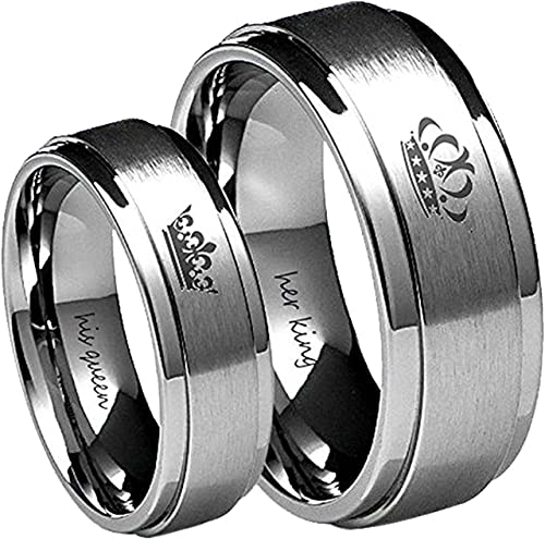 Amazon Com Blowin Tungsten Carbide Ring His Queen Her King Crown