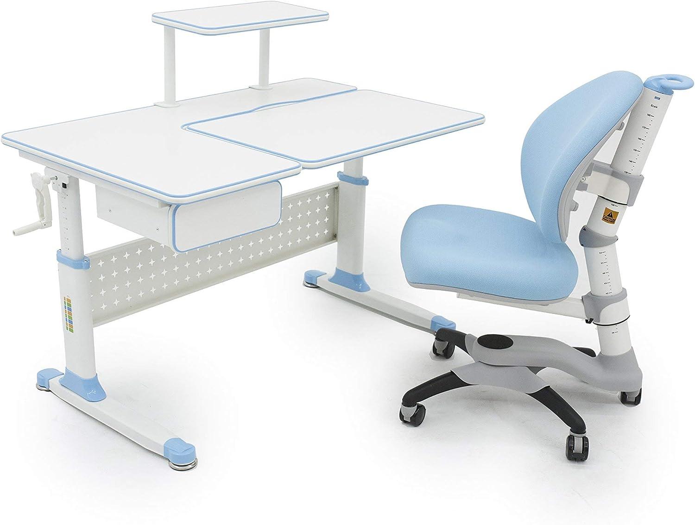 Apexdesk Little Soleil Dx 43 Children S Height Adjustable Study Desk W Integrated Shelf Drawer Desk Chair Bundle Blue Furniture Decor