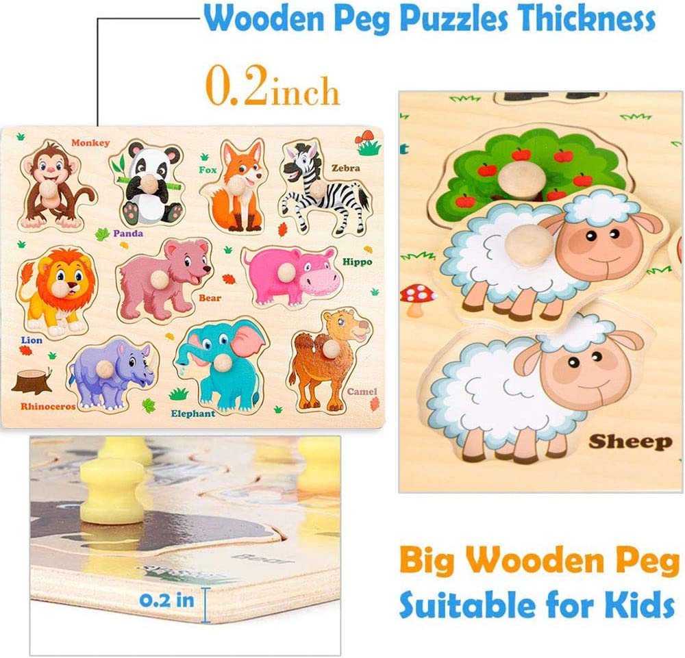 Preschool Educational Peg Puzzles Toys for 2-5 Years Old ...