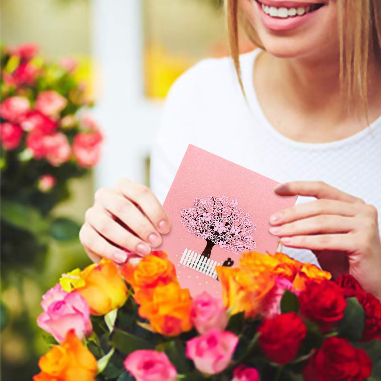 VEESUN Tarjeta de Felicitaci/ón Boda Pop Up Tarjetas 3d Invitaci/ón de Boda con Envoltura Tarjeta de Regalo Manuscrita para Valentin Cumplea/ños Navidad Aniversario A/ño Nuevo Fiesta Carro de boda
