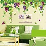 剥がせるウォールステッカー ブドウ棚 ウォールステッカー 果物 カラフルキッチン用 wall sticker はがせる壁紙 壁シール 60x90cm*2枚