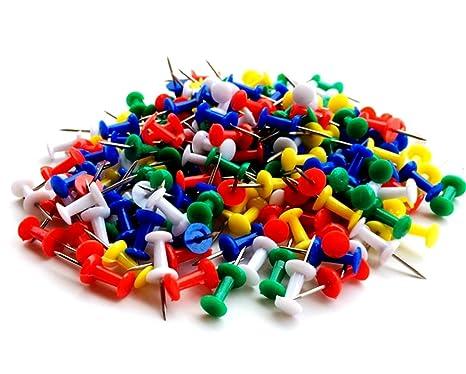 c33d61907a Katech 100 pezzi di puntine da disegno colorate plastica testa puntine da  disegno cancelleria per bacheca