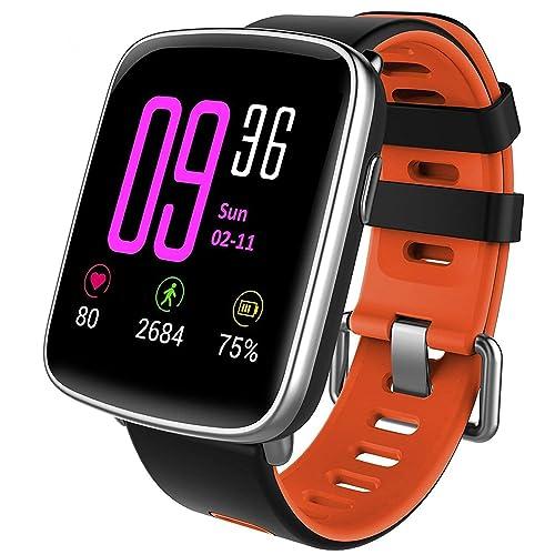 Willful Smartwatch con Pulsómetro Impermeable IP68 Reloj Inteligente con Cronómetro Monitor de sueño Podómetro Calendario Control Remoto de música Pulsera Actividad para Android y iOS Rojo