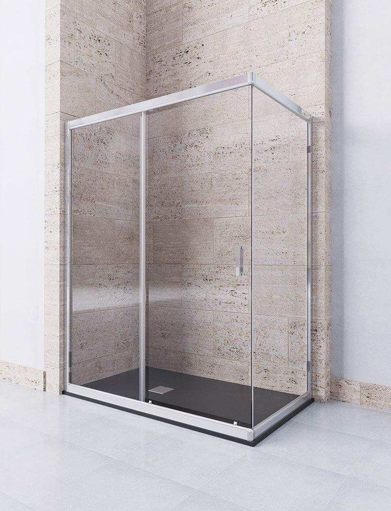Modelo DAMARA - Mampara de ducha angular de 2 hojas fijas y 1 puerta corredera - Cristal 6 mm con ANTICAL INCLUIDO: Amazon.es: Bricolaje y herramientas