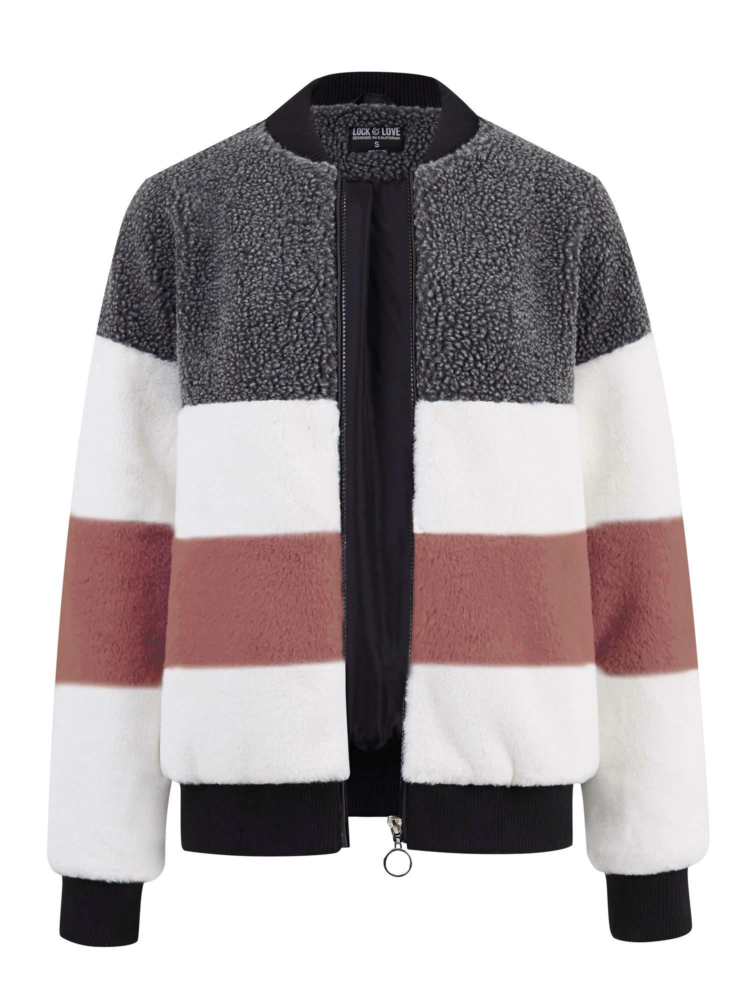 LL WJC2154 Women's Long Sleeve Zipper up Parka Sherpa Faux Mink Fur Shaggy Soft Fuzzy Fleece Jacket L Mauve by Lock and Love