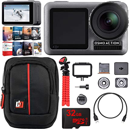 DJI Osmo Action 4K HDR Camera with 2 Touch Displays 11M Waterproof 4K Ultra  HD Video 12MP Adventurer's Bundle Including Case Tripod High Speed 32GB