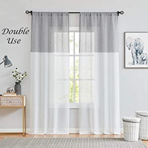 Central Park Gray and White Stripe Sheer Color Block Window Curtain Panel Linen Drape Treatment for Bedroom Living Room Farmhouse 95 inches Long with Rod Pocket,2 Panel Rustic Living Panels, Grey