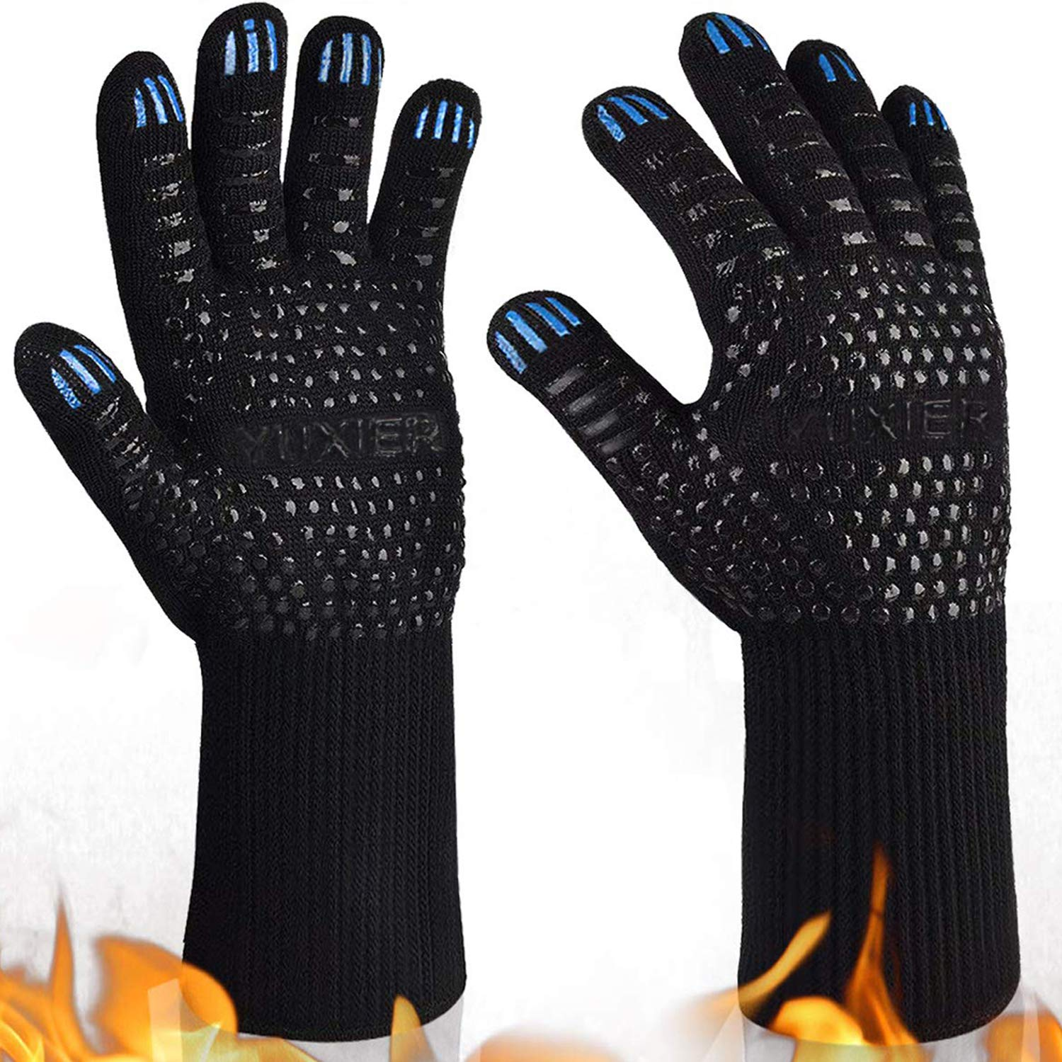 BBQ Grill Gloves, 1472°F Extreme Heat Resistant Oven Mitts Kitchen Gloves for Welding, Cooking, Grilling, Baking, Pot Holders (1pair) by YUXIER