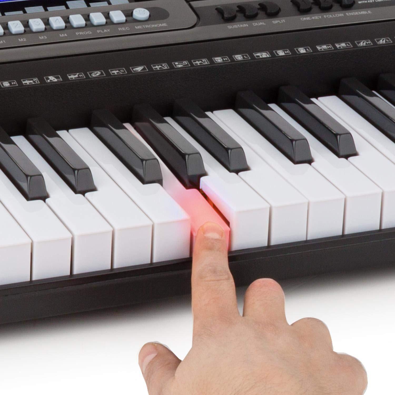 Schubert Etude 450 USB Teclado de aprendizaje con auriculares de estudio Piano de 61 teclas luminosas Reproductor MIDI USB 460 registros 65 canciones demo ...