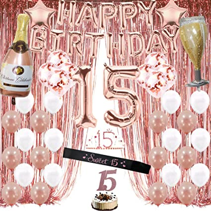 Amazon Com Rose Gold 15th Birthday Decorations For Girls Quinceanera Decorations Sweet 15 Birthday Party Supplies For Her Include Foil Fringe Curtains Happy Birthday Balloons Birthday Tiara Sash Cake Topper Toys Games