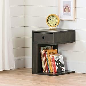 South Shore Furniture Sweedi Solid 1-Drawer Nightstand-Black Wood