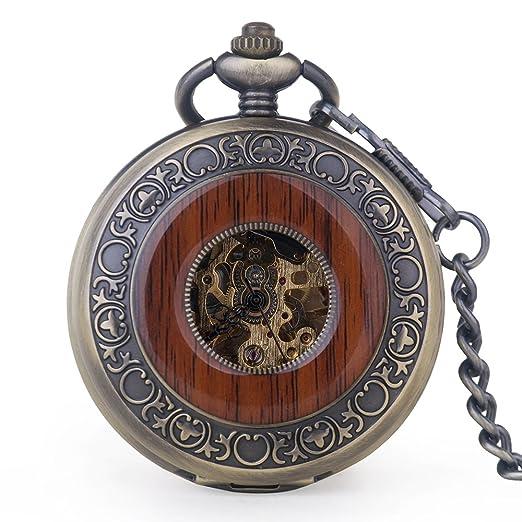 Reloj de bolsillo mecánico de madera vintage con números romanos y cadena con colgante de madera tallada de lujo: Amazon.es: Relojes